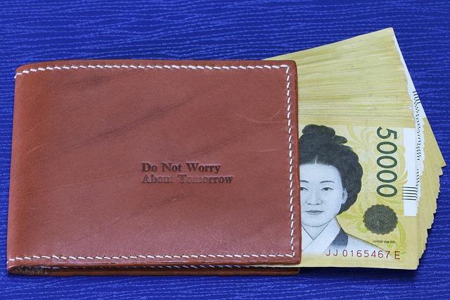 asijské bankovky, hnědá peněženka