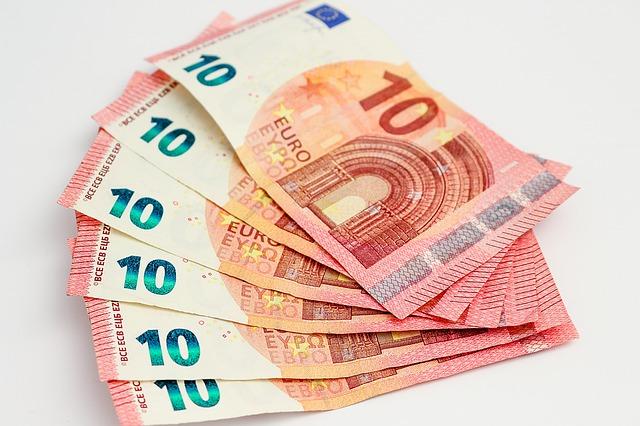 vějíř bankovek, 10 euro